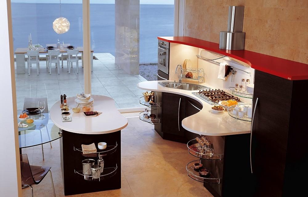 Skyline Lucci Orlandini design mit dunklem Eichenholz | {Kücheninsel mit sitzgelegenheit 38}