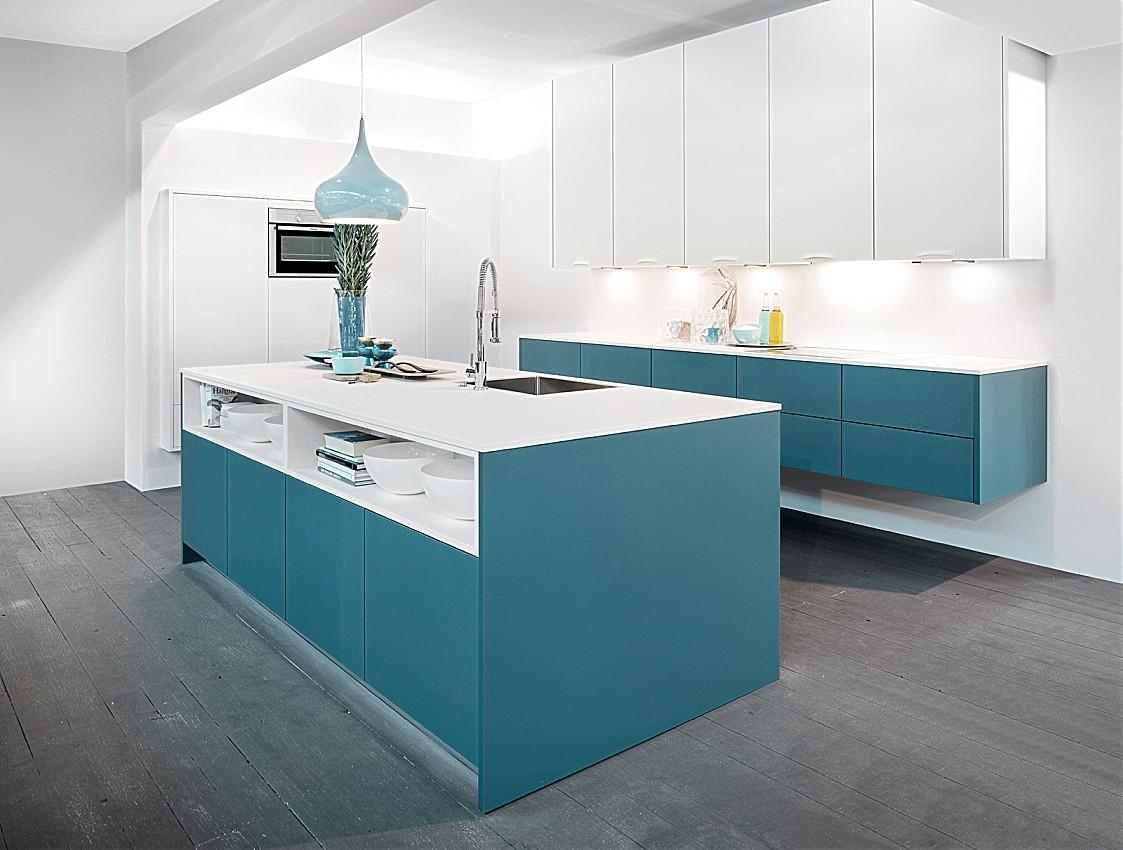 schwebende k che zerox hpl atlantik hpl wei. Black Bedroom Furniture Sets. Home Design Ideas