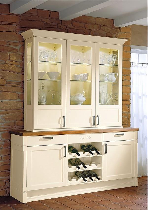 Weinregal für küche  Küchenbuffet mit Aufsatzschrank und Weinregal in Vanille mit Glastüren