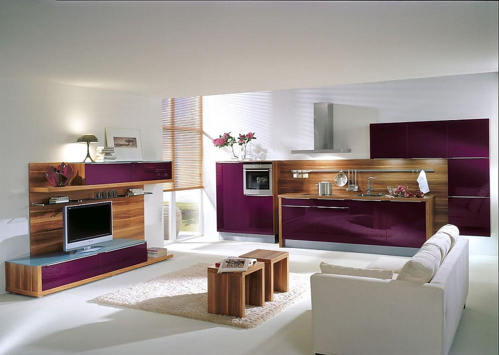 Kuchenzeile Und Wohnbereich In Hochglanz Aubergine Und Holz