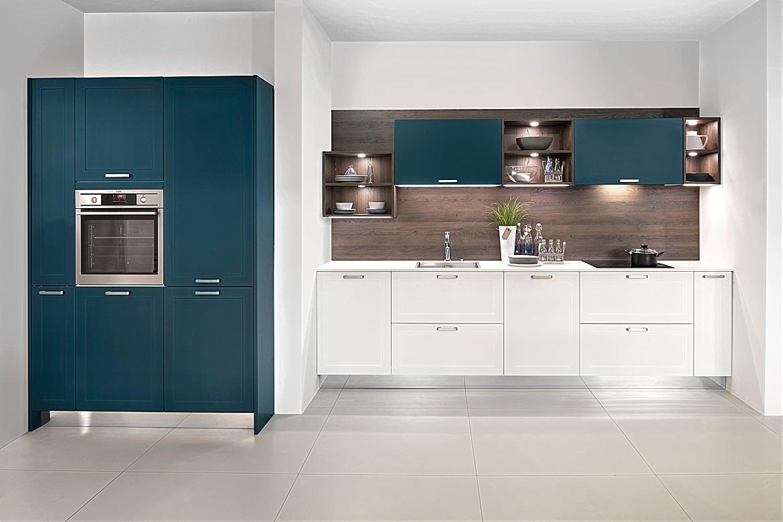 Küchenzeile Mikron Matt Lack Weiß/Deep Blue