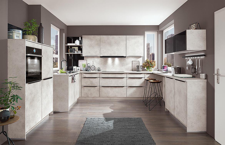 Moderne Küche mit Sitzgelegenheit