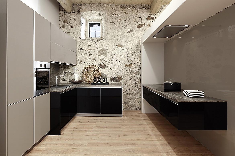 Küchen modern u-form  U-Form Küche in Hochglanz Violett mit Arbeitsplatte in Steinoptik