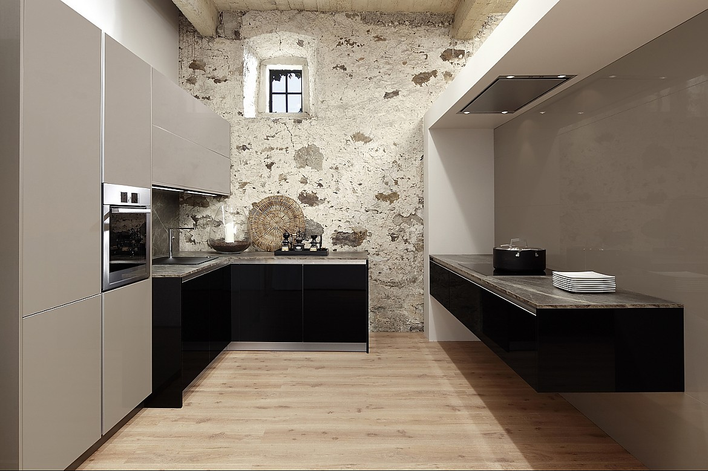 Zuordnung stil hochschränke modern art verticon mit fronten in riva quarz hochglänzend unterschränke modern art horizon mit