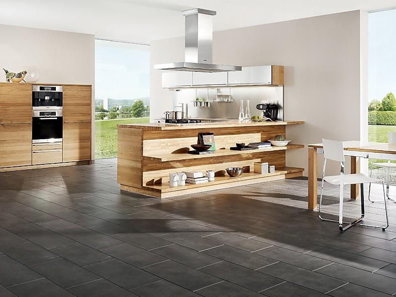 inselk che linee in eiche und hochglanz wei. Black Bedroom Furniture Sets. Home Design Ideas