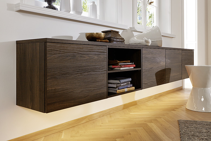 sideboard f r die k che in nussbaum holzdekor. Black Bedroom Furniture Sets. Home Design Ideas