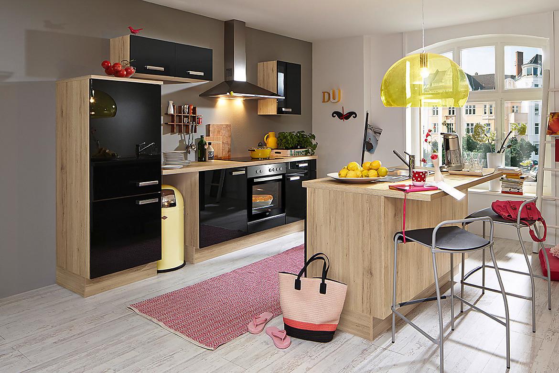 inselk che fokus schwarz mit theke. Black Bedroom Furniture Sets. Home Design Ideas