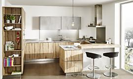 ... Moderne Betonoptik Und Natürlich Gemaserte Holzfronten Verbinden Sich  In Dieser Kleinen Küche Zu Einem Schönen Beispiel ...