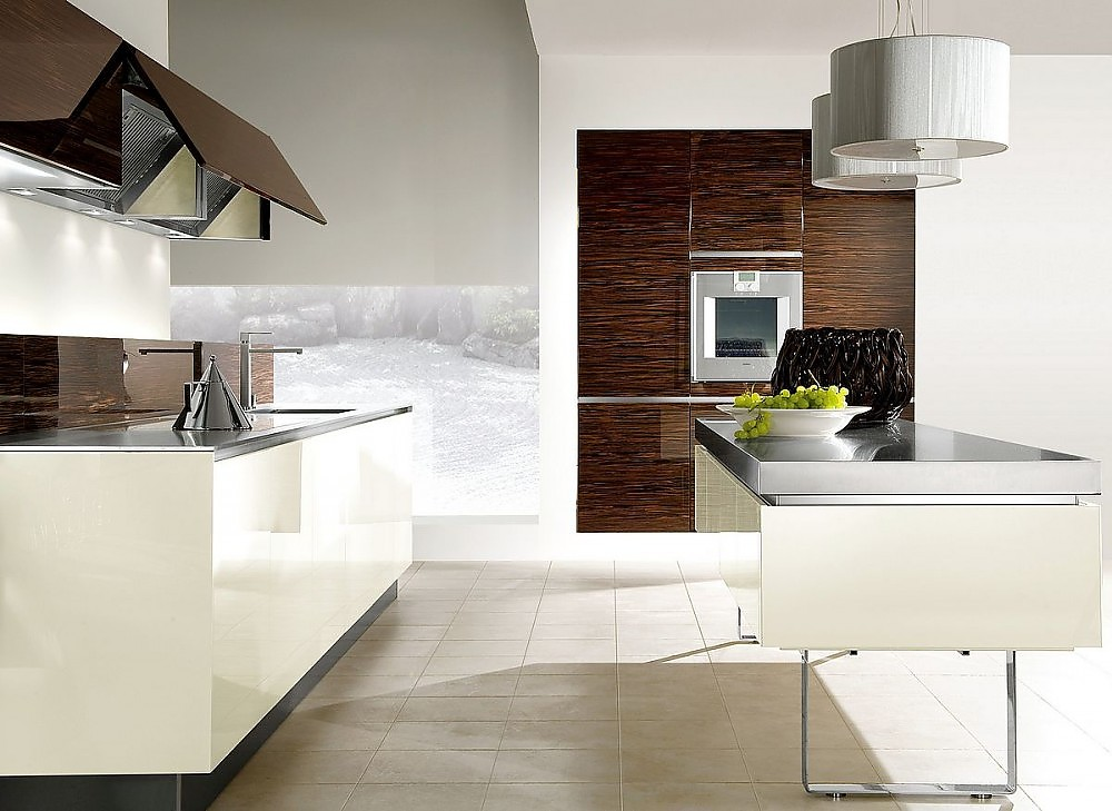 inselk che mit kufengestell in hochglanz wei und macassar. Black Bedroom Furniture Sets. Home Design Ideas