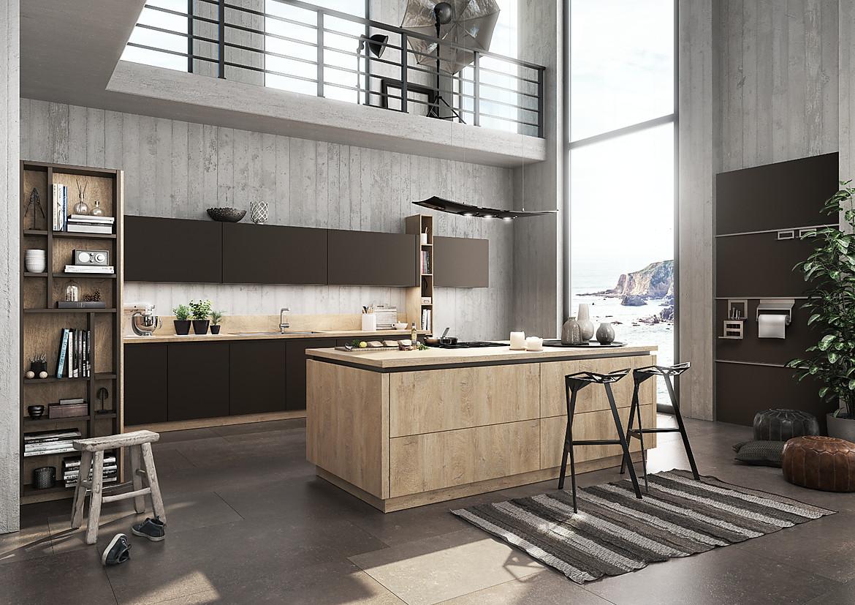 Moderne Grifflose Küche Mit Insel .