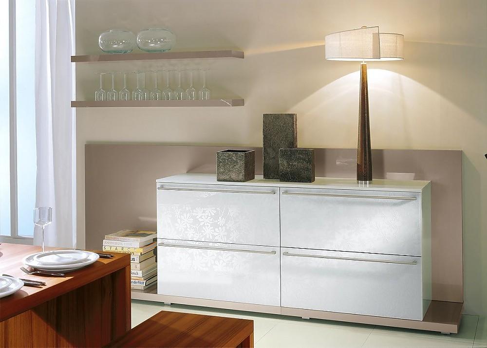 wohnwand in hochglanz champagner und floralglas. Black Bedroom Furniture Sets. Home Design Ideas