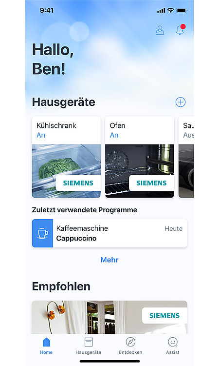 Homescreen der Home Connect App