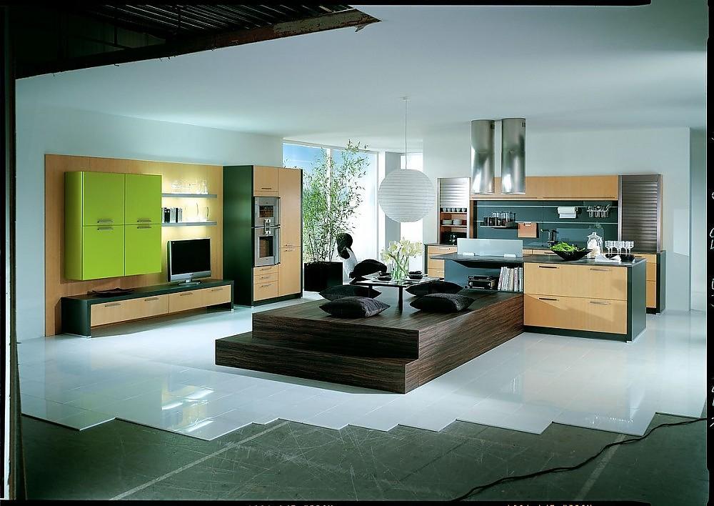 offene inselk che bali mit bambusechtholzfront und integriertem wohnbereich. Black Bedroom Furniture Sets. Home Design Ideas