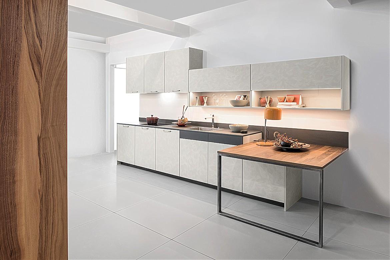 Küchenzeile design  Küchenzeile Concrete Beton Kashmir Quattro Walnuss Holzfurnier