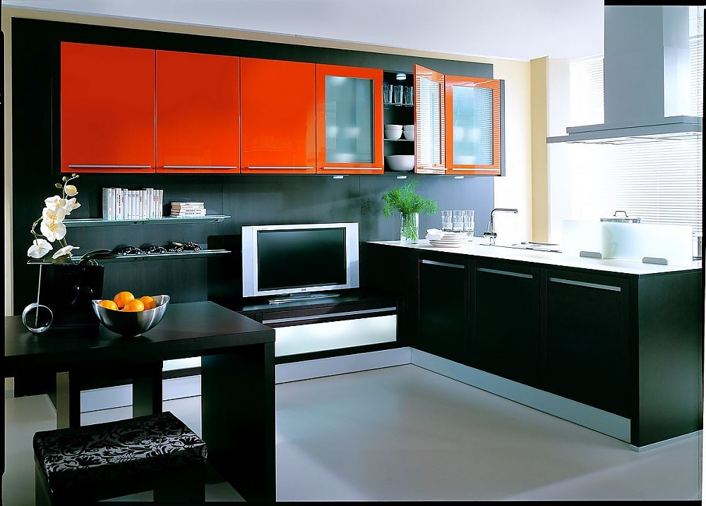 l form k che mit tv bank in rot und schwarz lackiert. Black Bedroom Furniture Sets. Home Design Ideas