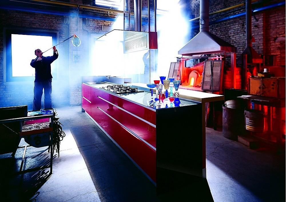 Küche Artematica Vitrum a Morano in Hochglanz Rot